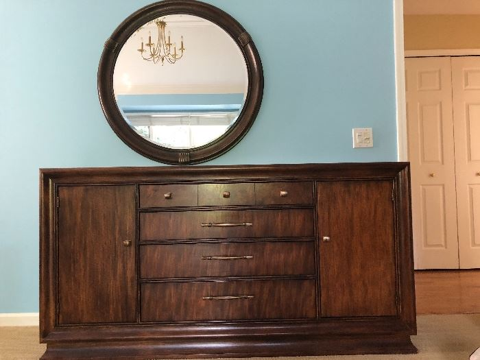 Hickory White brand large dresser with mirror. Solid wood. Perfect condition.