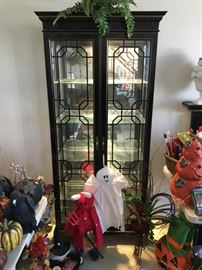 One of 2 Lighted Jasper Curio Cabinets