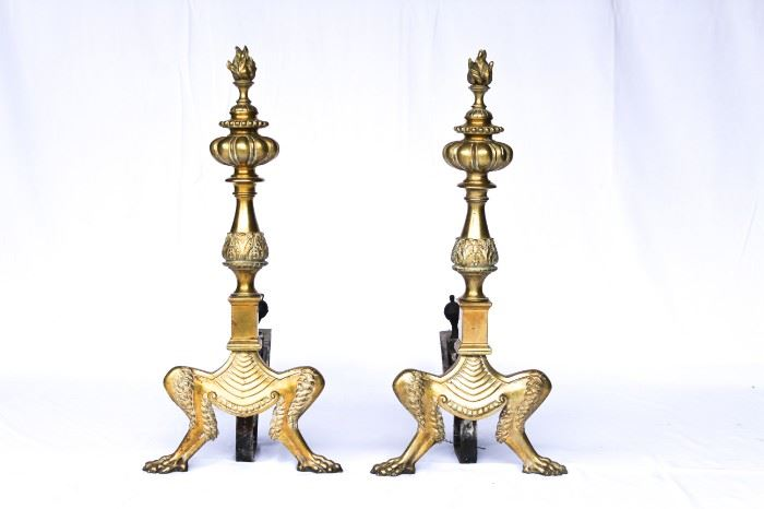 Flame top andirons, matching tools in another lot.