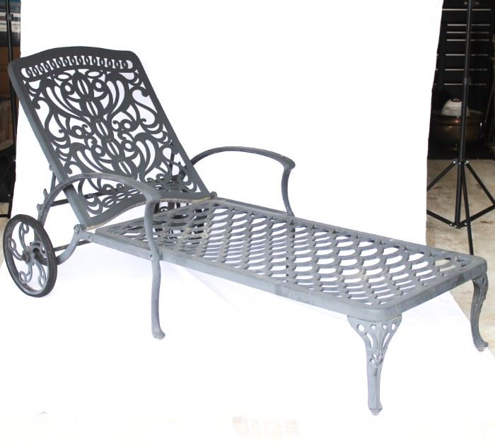 Pair of outdoor metal Chaise lounges with cushion.