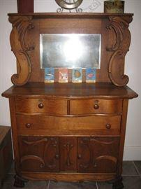 Antique oak buffet and mirror