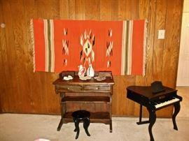 VINTAGE DESK, CHILD'S PIANO
