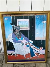 Native American Artist T.C. Cannon Poster- Man in Wicker Chair.