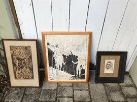 Vintage Wood Print from Taos, New Mexico, Basta Walter Solon Romero Print- Bolivian Artist, and Drawing of Elderly Women by Marina McClellans