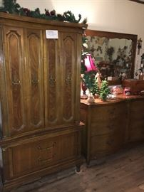 Vintage Armoire and Bassett Dresser with Mirror