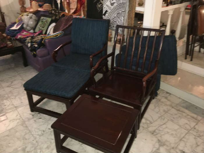Pair of Chinese Rosewood Chairs with Footstools, and upholstered Cushions.