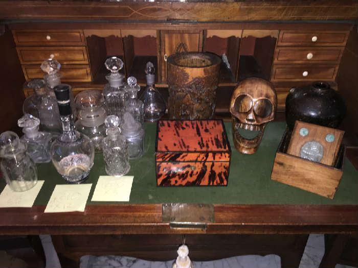 Perfumes, & Apothecary Jars, Boxes, Carved Wood Human Skull Brush Pot & more !