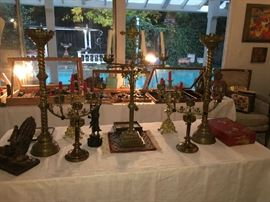 Antique Spanish Colonial Candelabra, Pricket Candelsticks and more.
