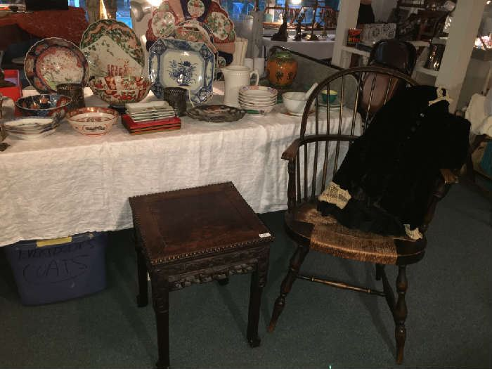 19th c. Windsor Chair, Low Chinese Rosewood Taboret Table. Japanese Porcelain. Victorian Black Velvet Peplum Jacket .