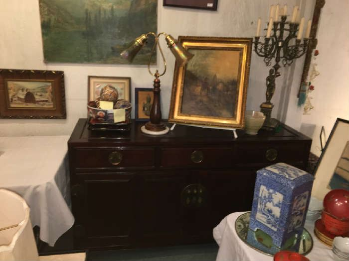 Antique Chinese Rosewood Buffet, Oil Painting, Large Candelabras,etc.