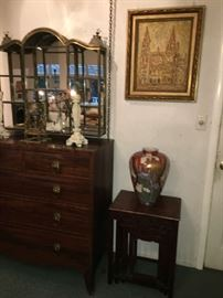 19th c. English Chest of Drawers. Set of 4 Chinese Rosewood Stacking Tables. Oil Painting of Cathedral. Antique Mirrored Brass Table Top Display Stand.,