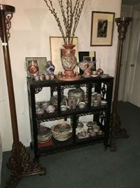 19th c. Chinese Rosewood Bookcase or Display Cabinet. More Japanese Porcelain. Pair Chinese Wood Torcheres.
