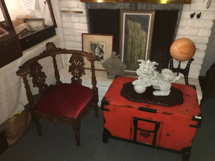 Victorian Corner Chair. Chinese Truck. Large Marble Ball on Stand. Blanc De Chine Foo Dog ( as is)