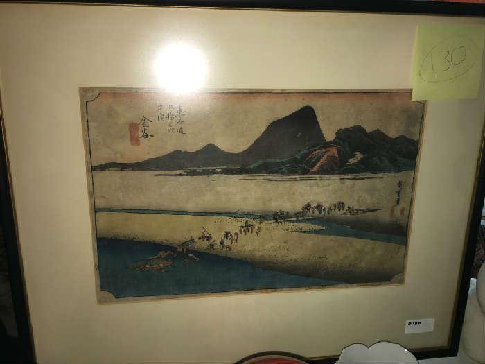 Woodblock Print. Hiroshige, 53 Stations of the Tokaido Rd. 1834