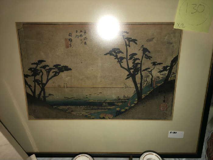 """Woodblock Print, Hiroshige,"""" 53 Stations of the Tokaido Rd."""" 1834"""