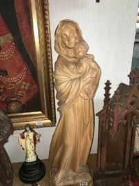 Carved Wood Statue, Virgin & Child