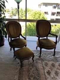 Pair of Queen Anne Chairs and ottoman $500
