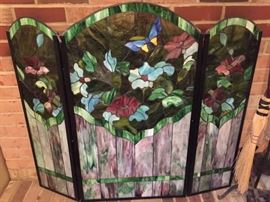 Beautiful Stained Glass Fireplace Screen.