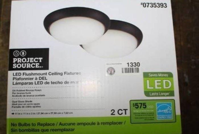 2 LED Flushmount Oiled Bronze Finish Ceiling Fi ...