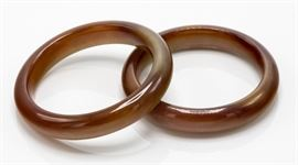 Lot 6 Natural Brown Jade Bracelets
