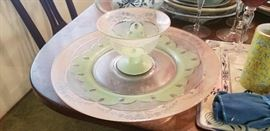 Antique glassware serving set