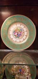 Rare Antique Mintons Dresden green gold flower center plates