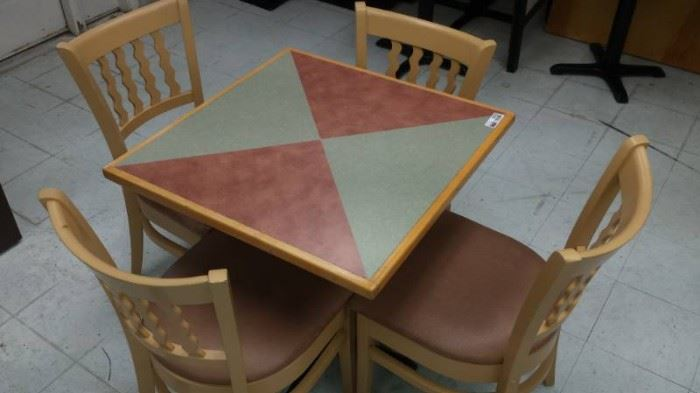 2 Tone Square Table with Base and 4 Schafer Wood F ...