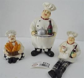 3 Chef Kitchen Decor Figurines