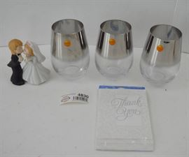 3 Wine Tumblers, Bride and Groom Figurine, and Tha ...