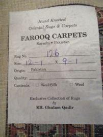 Label on back of Pakistan rug