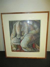 Eve Whitaker, The Red Stool, framed, artwork
