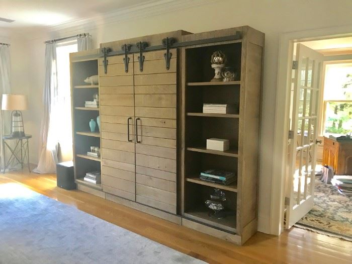 Arhause Bauman Barn Door Media Cabinet Holds TV and Storage approx 117 W x 8ft H
