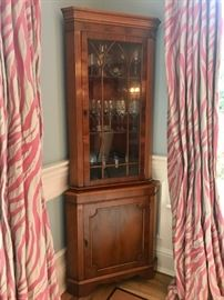 Charming English Corner Cabinet 76 h x 29 d to corner Drapes NFS