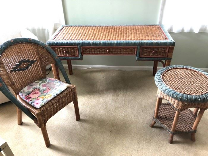 wicker desk, chair and end table