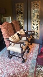 A pair of a total of three Italianesk armchairs with tapestry backs and Ralph Lauren fabric seats