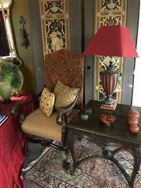 The third Italian chair along with the most beautiful hand-painted Italian lamp and antique Italian endtable