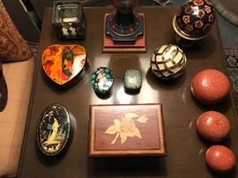 A group of boxes including a Russian lacquered box
