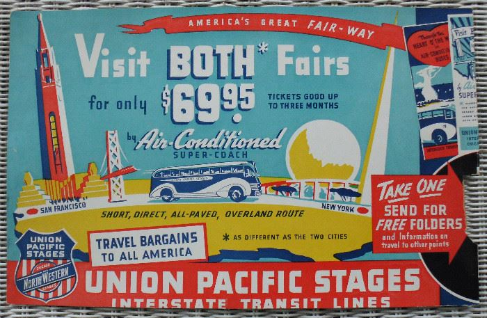 Union Pacific Bus Sign for 1939 1940 NY World's Fair & Golden Gate Exposition
