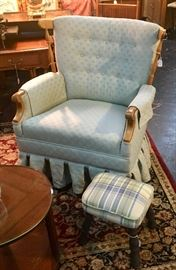 Upholstered rocker with plaid footstool