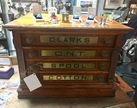 CLARK'S O.N.T SPOOL COTTON antique wooden counter display, four sterling turquoise rings and other tiny pieces of collectibles