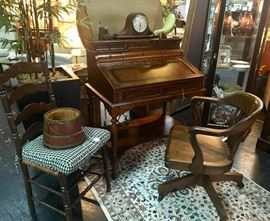 BEAUTIFUL, mahogany desk with leather insert, a vintage wooden desk chair, and a ladder-back side chair