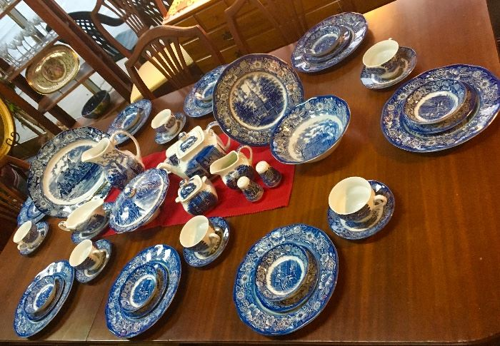 "STAFFORDSHIRE ""Liberty Blue"" Ironstone, 56 PIECES!"