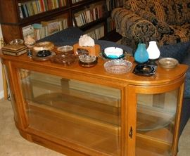 Litghed display cabinet and collection of vintage ash trays
