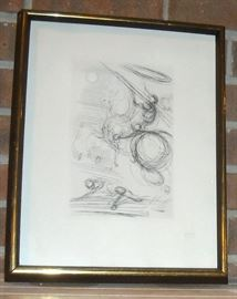 Salvador Dali etching. Certificate of authenticity on back.