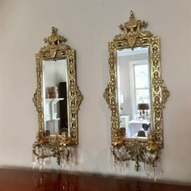 mirrored brass candle sconces