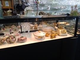 HANDPAINTED NIPPON, CRYSTAL STEMWARE, LOTS OF AMERICAN MADE SERVING DISHES, JEWELRY SHOWCASES SHOWN ARE FOR SALE , ALL HAVE BUILT IN LOCKS AND KEYS, LOCKING BUILT IN STORAGE BELOW