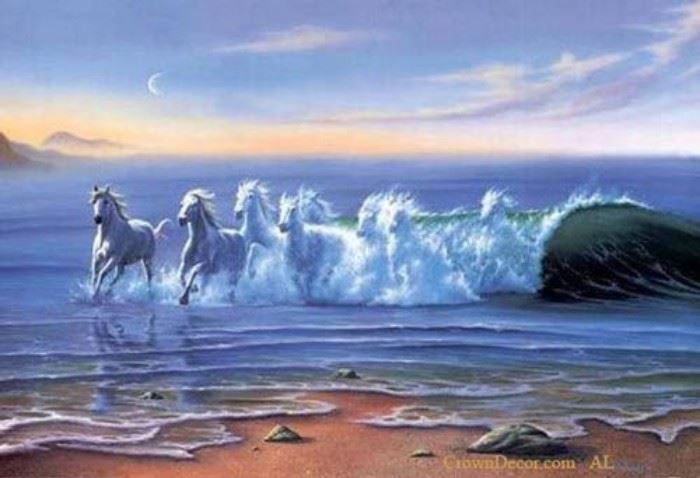 8 Surfing Horses 8.5 18 X 24 Starting bid $195