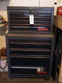 "Rolling Craftsman Tool Box With 9 Drawers, Includes Upper And Lower Chests, Contents Not Included, No Key, 46"" x 26"" x 18"""