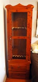 "Lockable Cedar Wood Gun Cabinet With 2 Drawers And 7 Gun Slots, 75"" x 25"" x 12"""