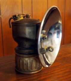 Antique Brass Fireliner Justrite Coal Miner Lantern/Miner Helmet Lamp
